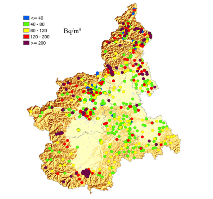 Cartina Lombardia E Piemonte.Mappa Del Radon In Piemonte Radon360 It Misura Il Radon